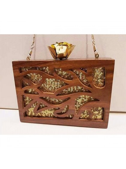Wooden Sequined Clutch