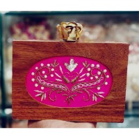 Wooden Embroidered Clutch
